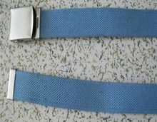 2017 iron metal buckle and ending tip 3.5cm Blue polyester cotton canvas belt with matte iron metal buckle and ending tip