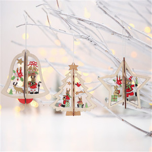 Wooden christmas tree ornaments with mini christmas tree/bell etc in a wholesale price hot selling