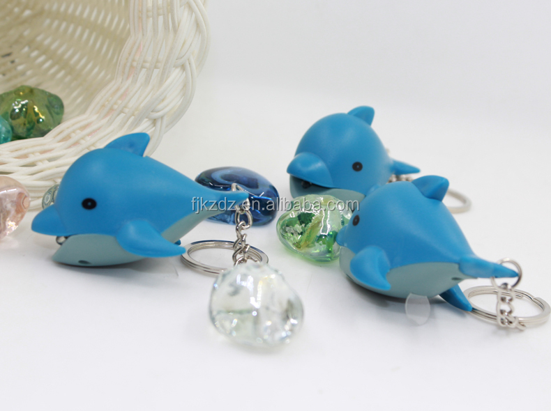 LED keychain pass CE ROHS test dolphin shape sound light keyring