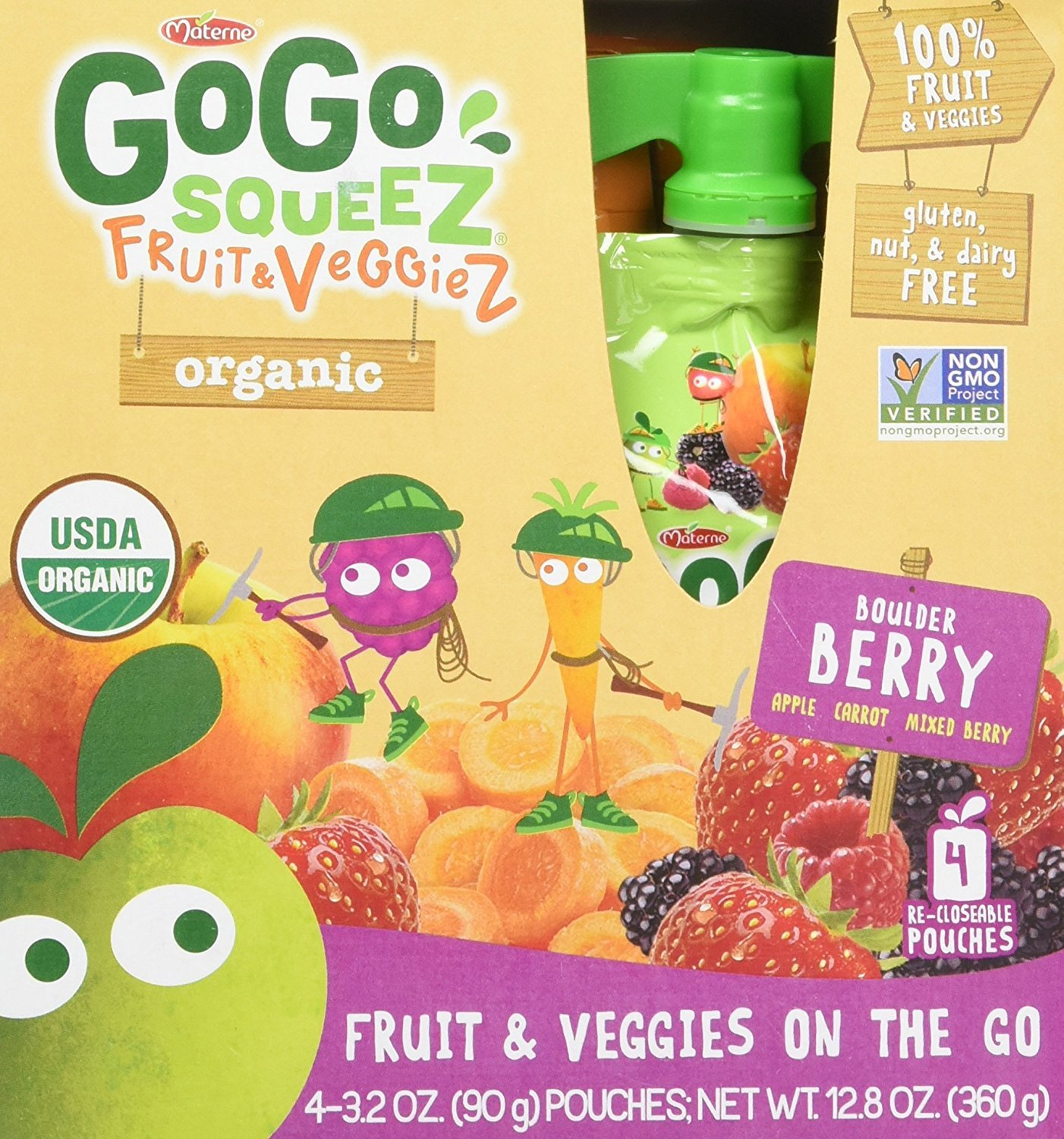 GoGo SqueeZ Organic Fruit & VeggieZ on the Go, Apple Mixed Berry Carrot, 3.2 Ounce Portable BPA-Free Pouches, Gluten-Free, 4 Total Pouches