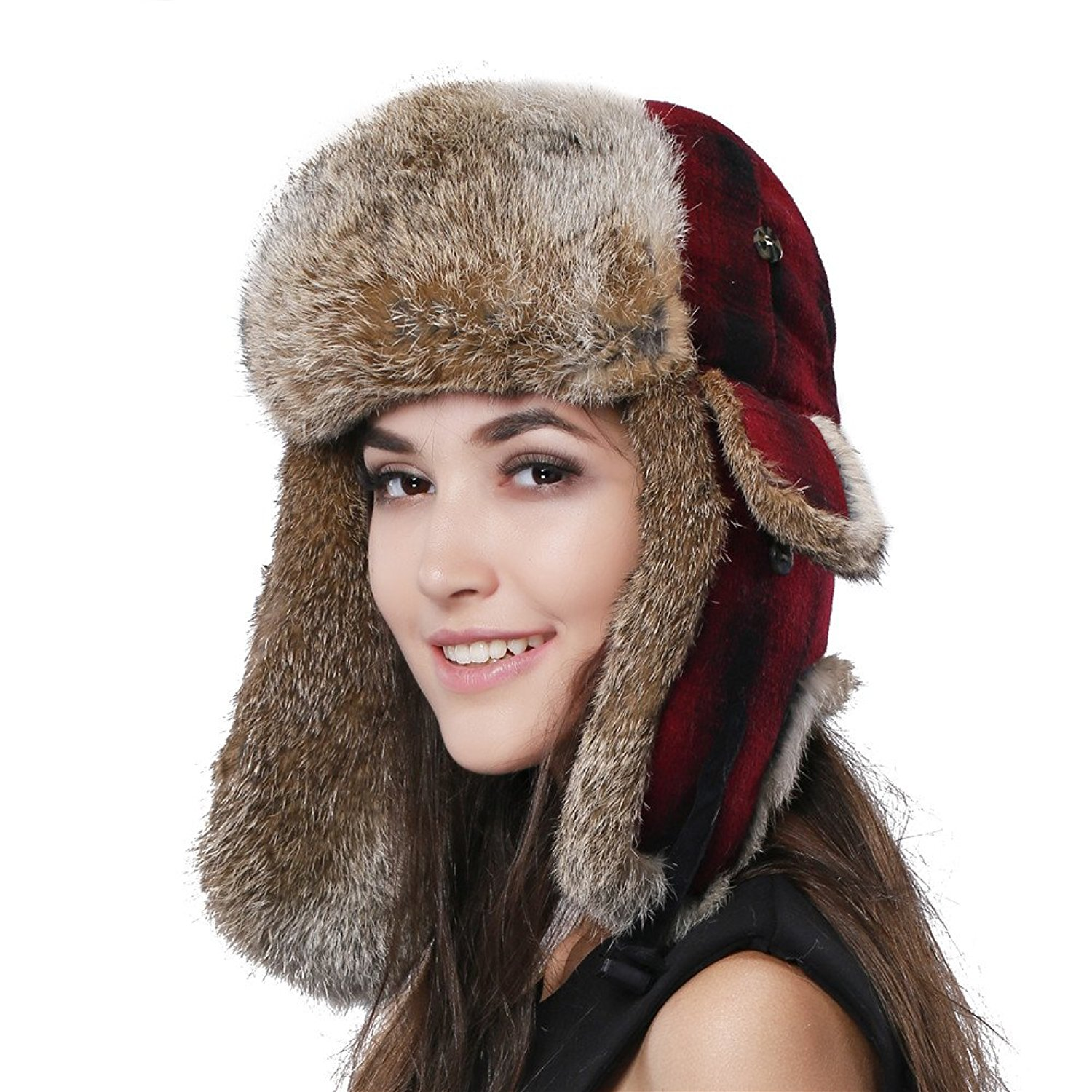 c83ee322e2072 Get Quotations · FURTALK Natural Rabbit Fur Ushanka Trapper Hat Aviator  Winter Cap For Women