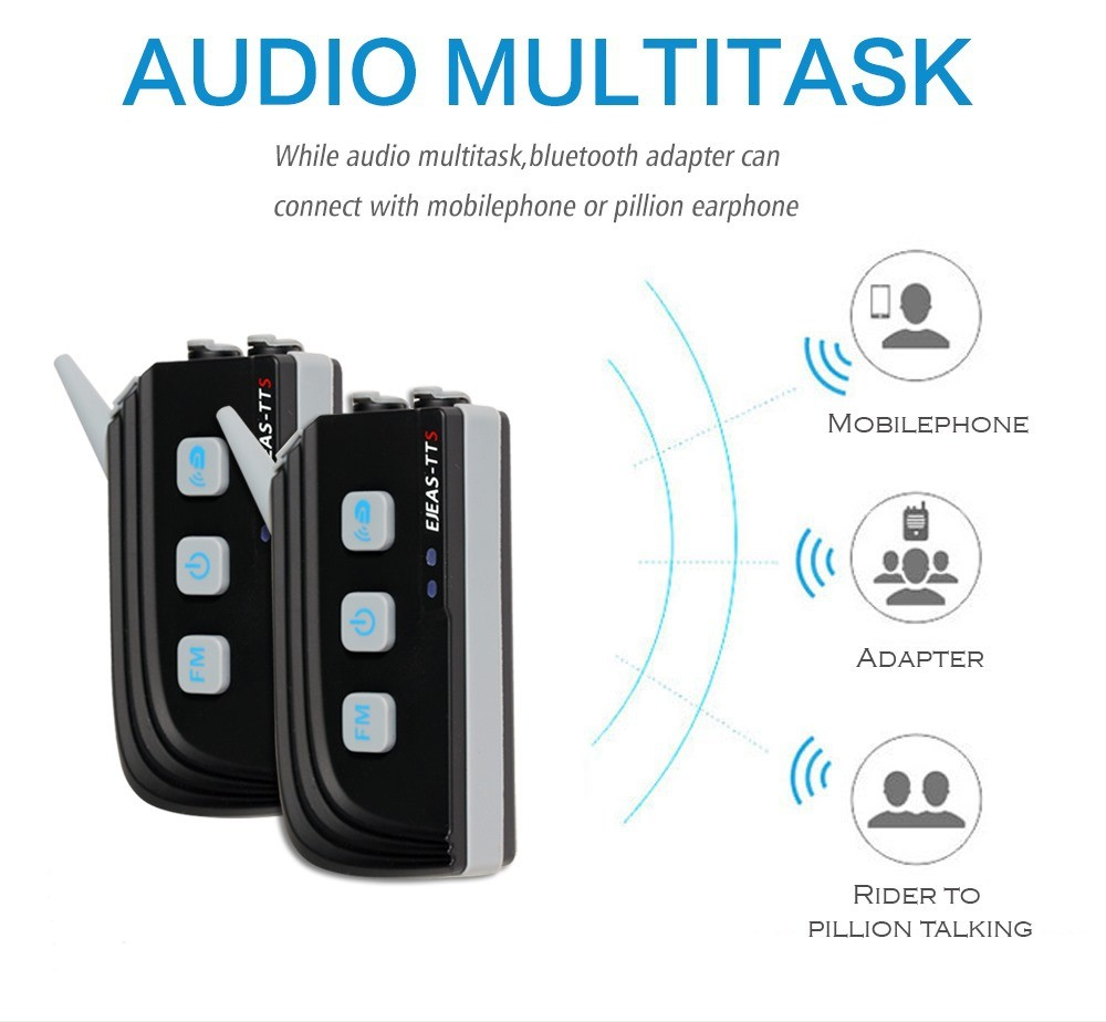 TTS Motorcycle Bluetooth Waterproof System Wifi Video Intercom With Fm Radio