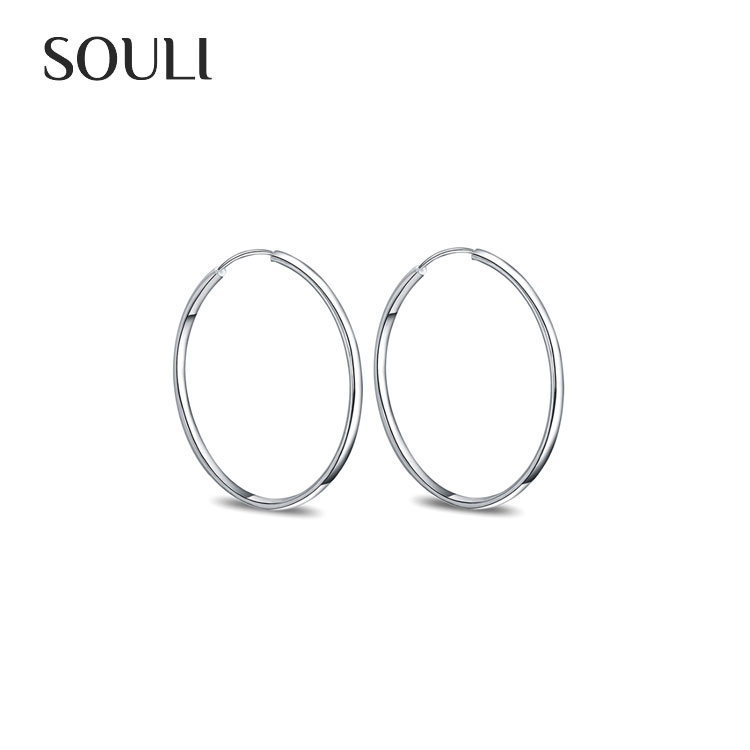 Fashion Earrings Jewelry Silver Plated Big Circle Hoop Earrings for Women