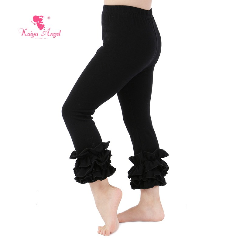 Commercio all'ingrosso Caldo-vendita del bambino delle ragazze red ruffle pantaloni custom design del bambino del cotone ruffle pantaloni lunghi