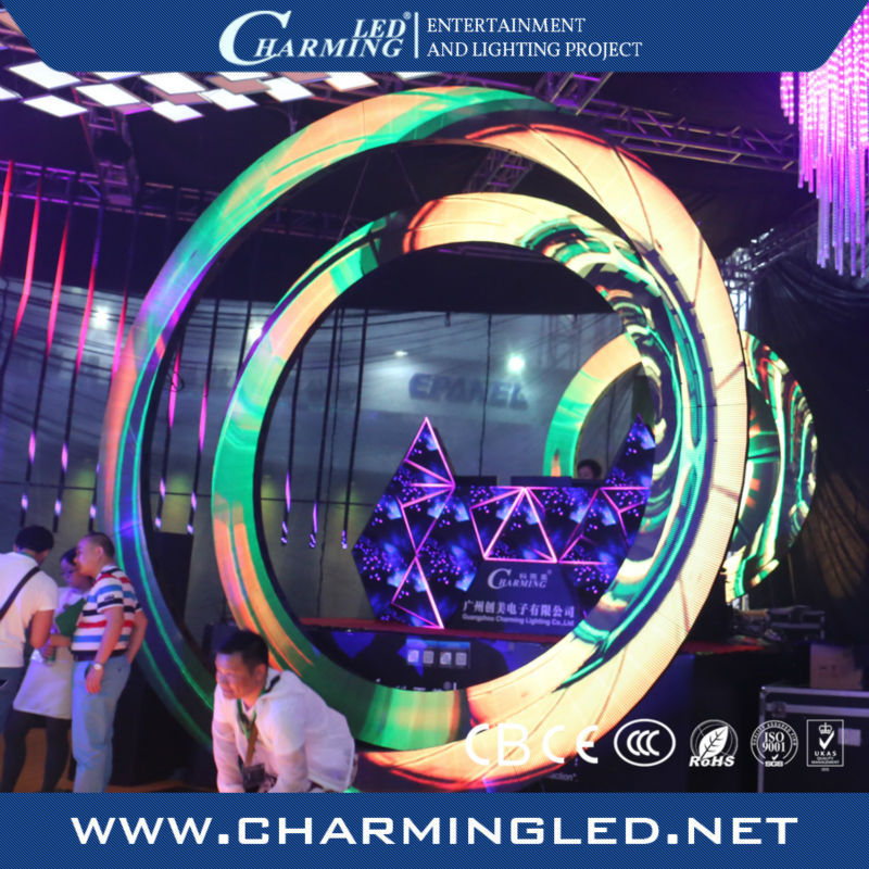 special shape ring led display big display boards 3d video wall round display screen for bar/disco/stage/wedding