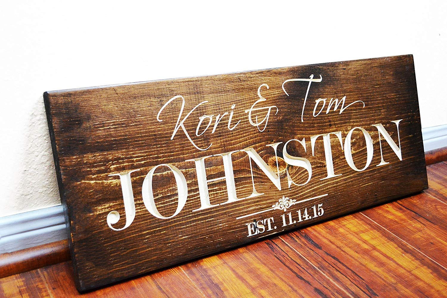 FAST SHIPPING Personalized Family Name Sign Wedding Gift Custom Carved Wooden Signs Last Name Décor Established Wood Plaque Engraved