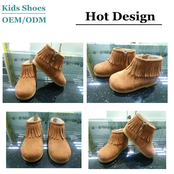 TEXTILE SUEDE FABRIC UPPERS with FRINGE ZIPPER NWT INFANT MOCCASIN BOOTS