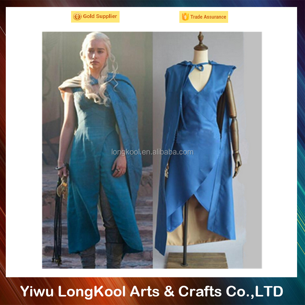 Film Game of Thrones Daenerys Targaryen cosplay costume blue dress and cloak A Song of Ice and Fire Movie Cosplay adult Costume