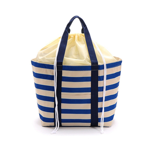 Export Japan striped canvas lunch cooler bag with shrinking Pocket Pearl for cooler and warmer