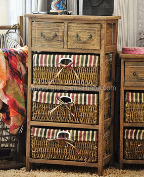 Living Room Corner Table With Woven Drawer Chest