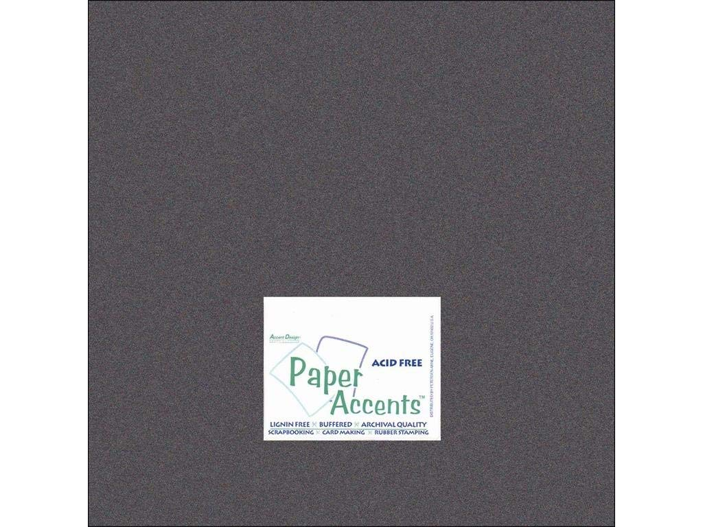 """Accent Design Paper Accents ADP1212-25.855 No.80 12"""" x 12"""" Onyx Paper Pearlized Card Stock"""