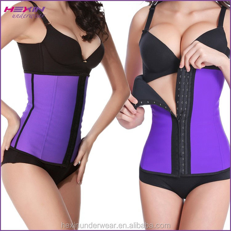 4 Steel Boned Purple Hot Faja Rubber Belt Waist Slimming Corset