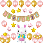 Foil Balloons Banner Latex Balloons Cute Rabbits Easter Banner Home Decor Easter Party Supplies Party Decoration