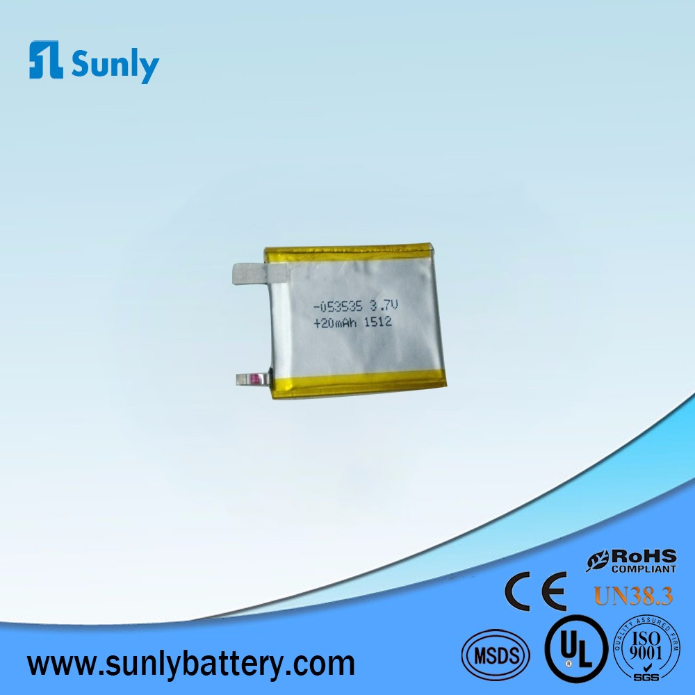 rechargeable 053535 3.7v 20mah,1mm ultra thin lipo battery for smart card