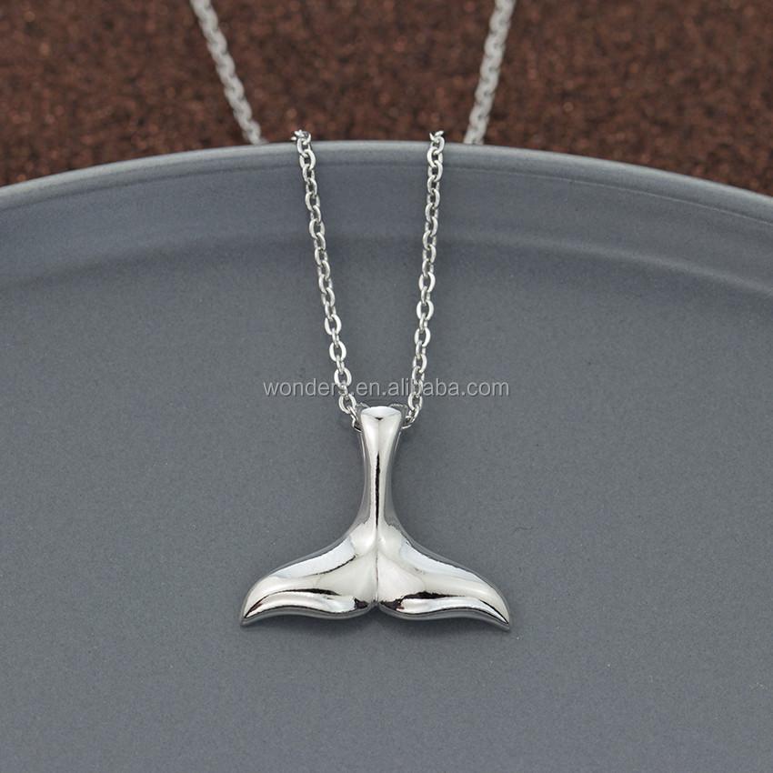 Women New Fashion Delicate Mermaid Fishtail Whale Tail Pendants Necklace Chain