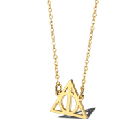 Stainless steel necklace death hallows statement necklace