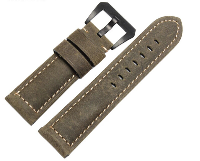 Classic Handmade Leather Watchbands, 24MM For Panerai Strap, Crazy Horsehide Green Strap,Fast Delivery