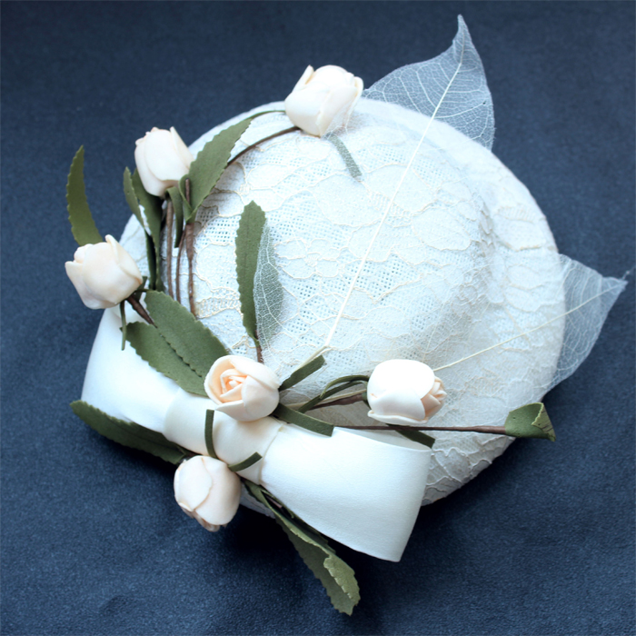 White color small women wedding hats