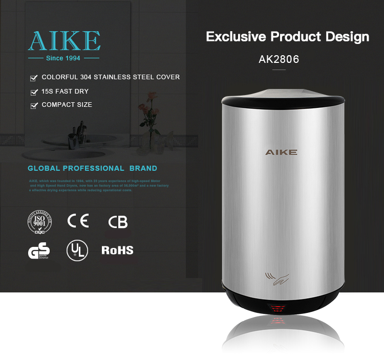 China AIKE New Design Automatic Sensor Fast Drying Hand Dryer Turbo Jet Hand Dryer