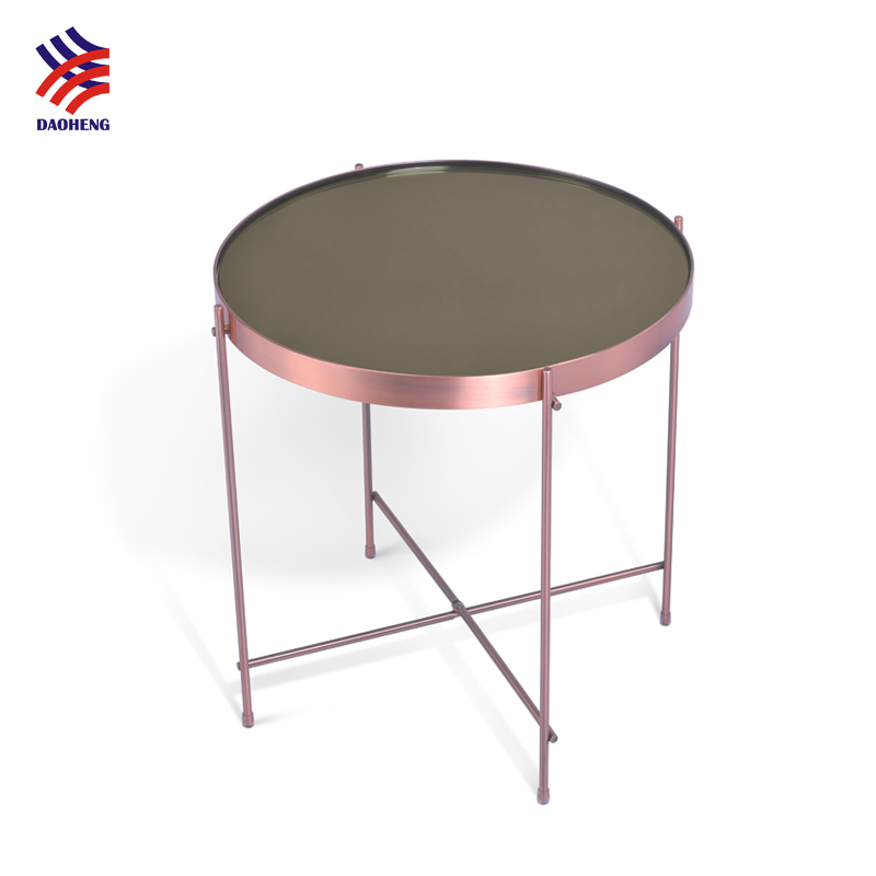 Hot sale fashion modern simple design rose gold copper nickel chrome plated round metal mirror side table