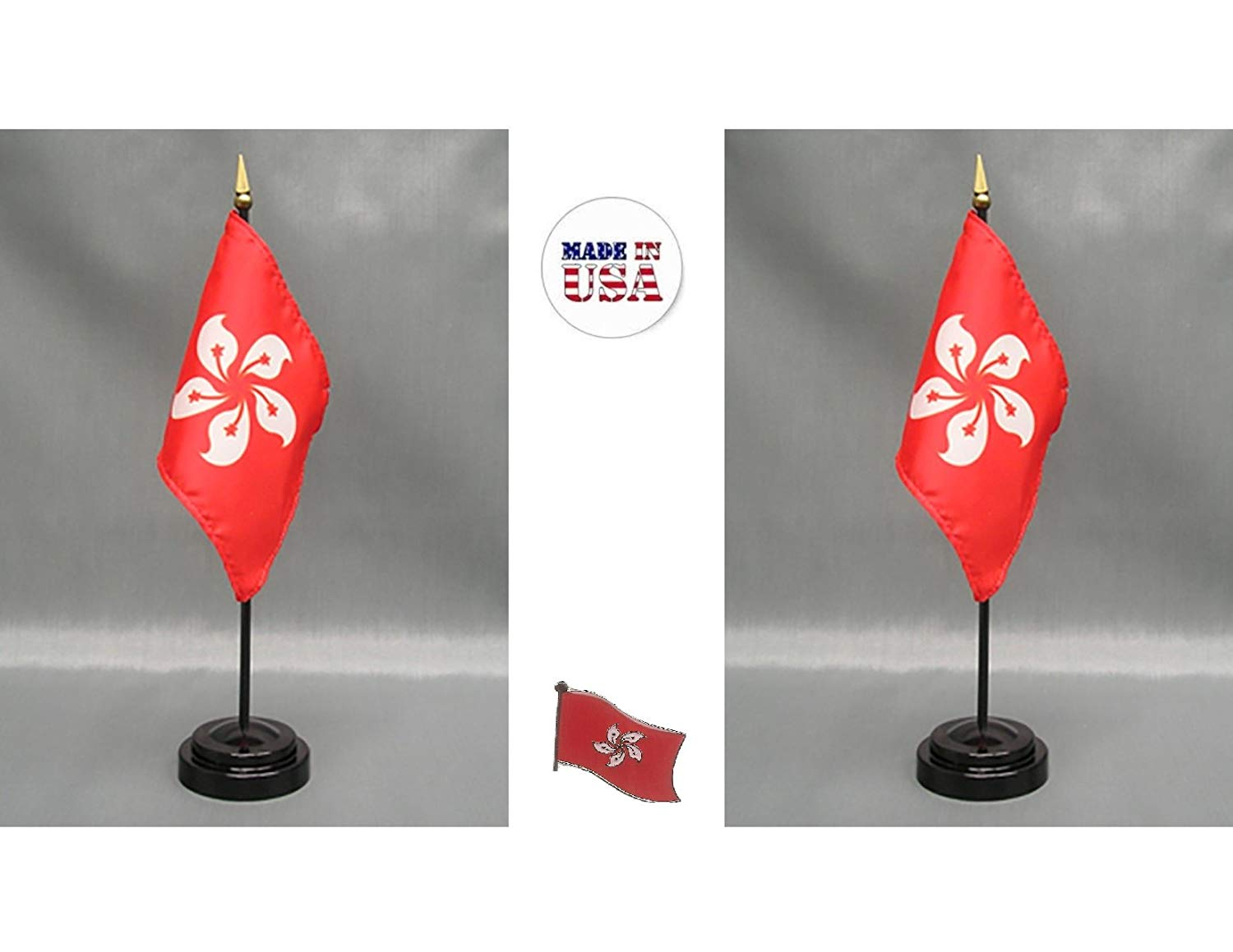 "Made in The USA. 2 Hong Kong Rayon 4""x6"" Miniature Office Desk & Little Hand Waving Table Flags Includes 2 Flag Stands & 2 Small Mini Hong Kong Stick Flags, Also Includes Hong Kong Flag Lapel Pin."