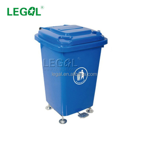 LD-50A-P Public 4 Wheels Plastic Pedal Garbage Can