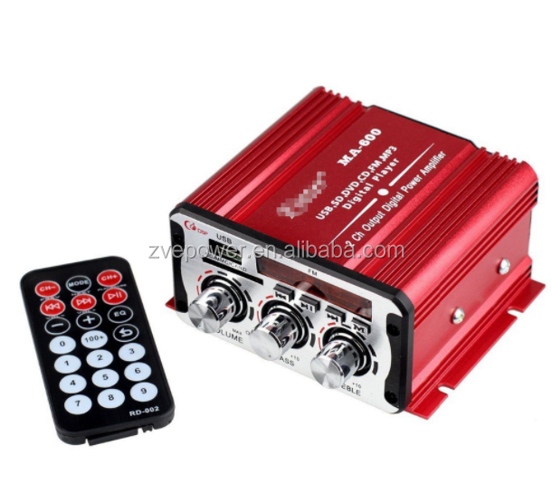 Amplificatore auto AMPLIFICATORE 2CH 12 V USB Hi-Fi Digital Stereo Amplificatore Auto/Moto/Barca/MP3/MP4/CD con Display A LED Super Bass MA-600