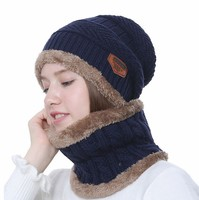 Winter fashion Men and women Thick Beanie Cap Scarf For Winter Knit Ski Fleece Lining Slouch Skull knitted set