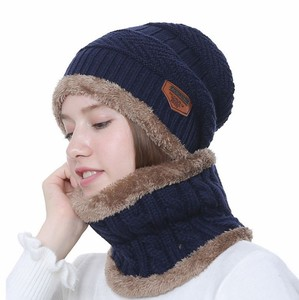 winter fashion unisex knitted beanie set
