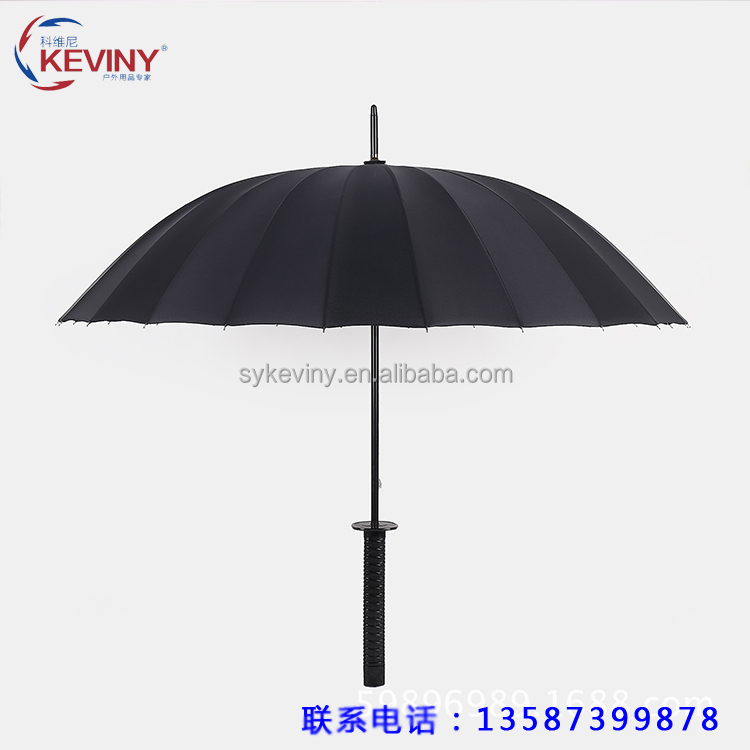 24k katana handle umbrella straight auto open umbrella with sword handle manufacture by china parasol factory