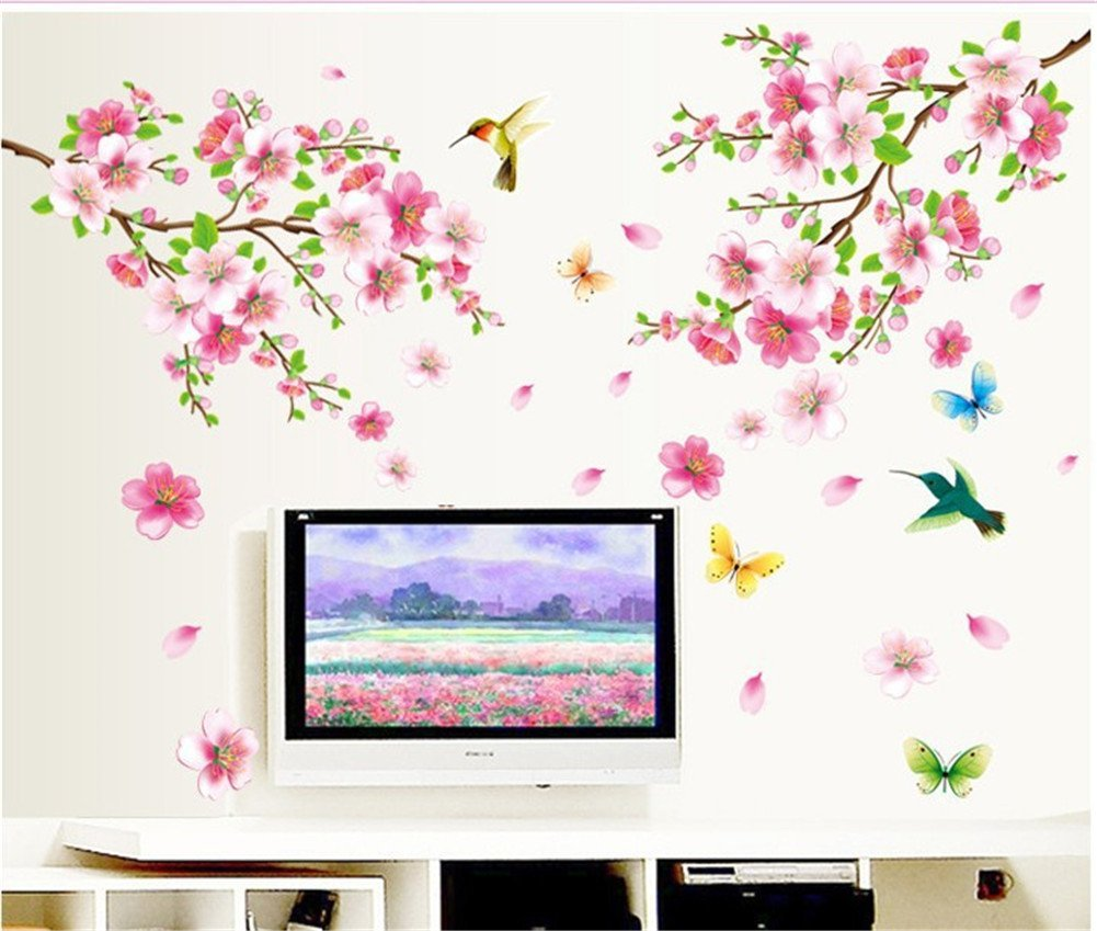 BIBITIME Pink 2 Branches Cherry Blossoms Trees Wall Decals Spring Flower Floral Walls Stickers Hummingbird Butterflies Decor Vinyl Rome Home Arts Murals,DIY Size: 43.31 47.24 IN