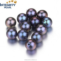 7-7.5mm AAA black round natural loose pearl, loose pearl cultured pearls, peacock pearl beads