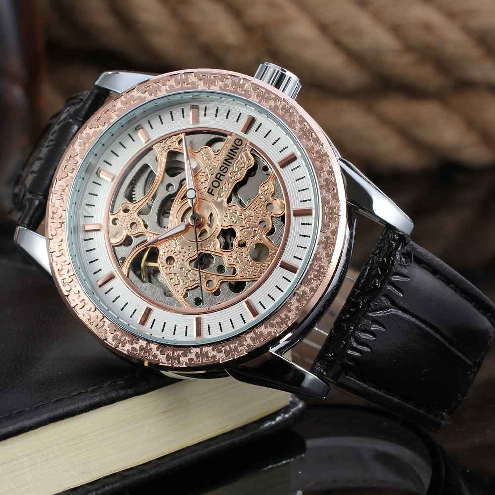 Fashion Waterproof New Design Mens Automatic Forsining Brands Crocodile Genuine Leather Watch