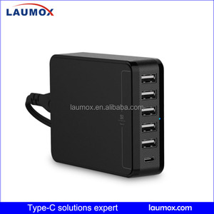New 6 ports QC 3.0 type-c charger Portable compatible quick charging adapter type c usb charger