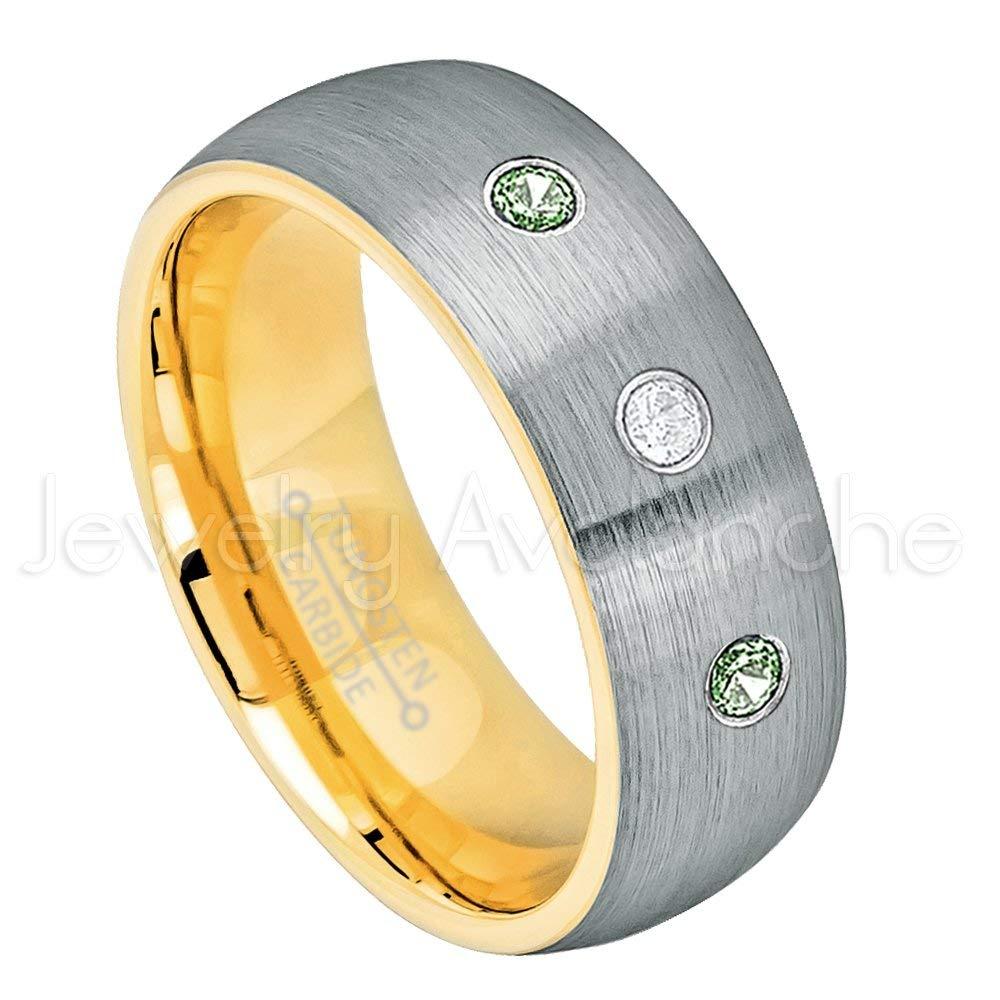 0.21ctw Diamond & Alexandrite Tungsten 3-stone Ring - June Birthstone Ring - 8mm Yellow Gold Inner Comfort Fit Brushed 2-Tone Dome Tungsten Carbide Ring Tungsten Tungsten Wedding Band