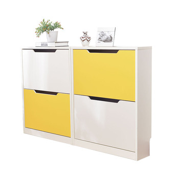 Modern Shoe Rack Cabinet With Doors In White Yellow Finish 1010