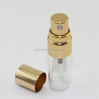 Custom made empty spray pump 3ml mini tube glass perfume diffuser spray bottle with golden lid