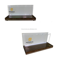 Custom logo printed solid wood and acrylic material counter top headphone display stand