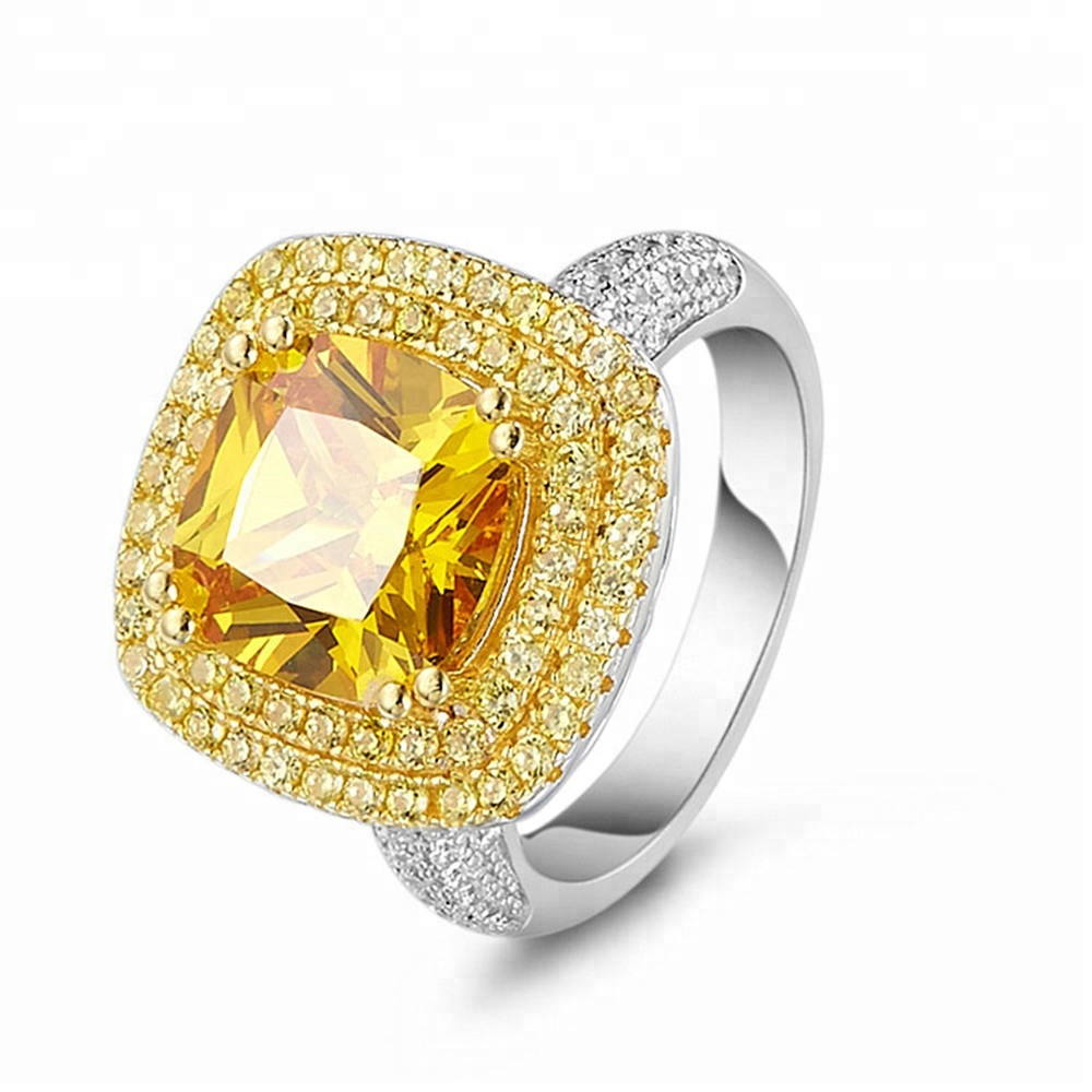 Joacii Iced Out Pave Setting AAA Cubic Zircon Big Stone Gemstone Rings
