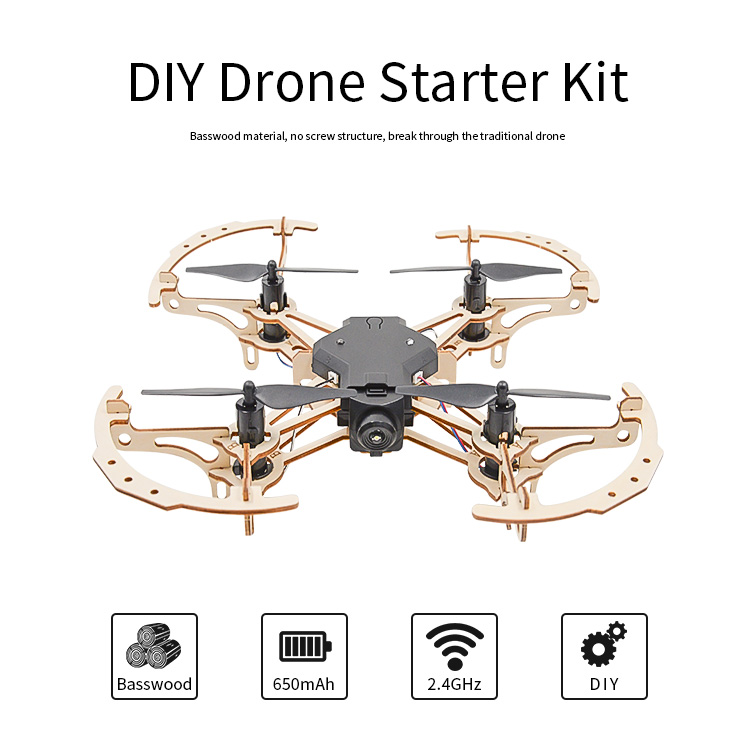 Professional wood diy stable flight drone kit with camera and controller