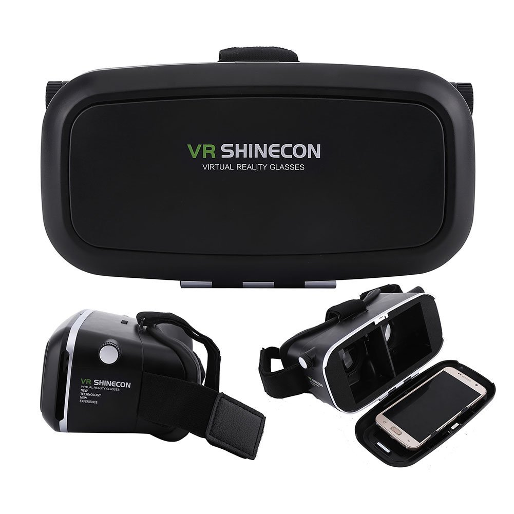 """Fosa Virtual Reality Headset 3D VR Glasses Goggles for 3.5""""-6.0"""" Android iOS Smartphones(Black)"""