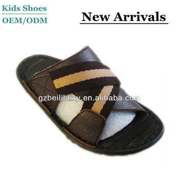 29da880a7 Genuine Leather Children Slippers, Kids Sandals,Brown boys flip-flops