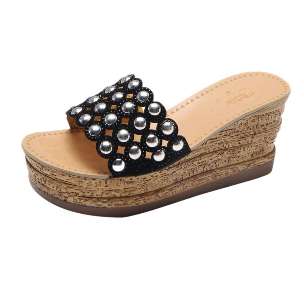 b1170ee0184d Get Quotations · SUKEQ Women High Platform Wedge Slide Sandals Bling  Jewelry Hollow Out Open Toe Slippers Slip On