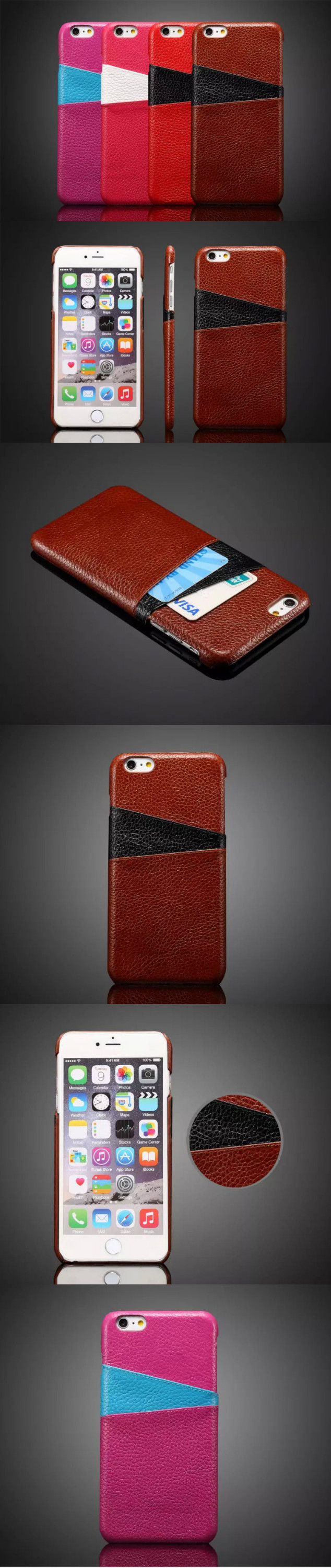 wp1031 Mobile Phone Leather Case for Iphone 6 plus with Card Holder