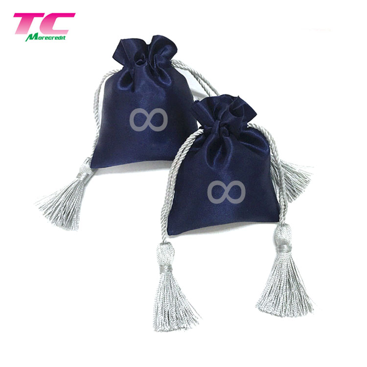 Exclusive Custom Printed Silver Satin Gift Bags With Tasse, Navy Blue Wedding Favor Silk Drawstring Bag For Jewelry Cosmetic Toy