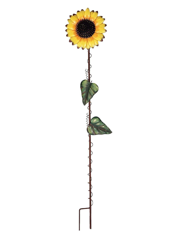 Waroom Home Sunflower Garden Stake, Metal Outdoor Yard Decor Patio Ornaments Flower Stake (39''H, Sunflower)