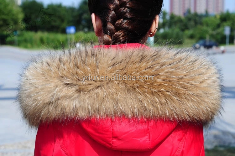 YR866 YR fur Winter fashion fur accessory for coat Genuine raccoon fur trim for hood/ hood trim