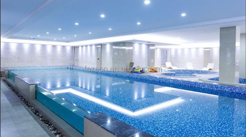 4mm de espesor azul cristal azulejo mosaico de vidrio para for Vidrio para piscinas