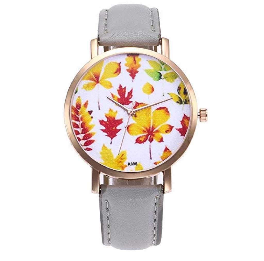 Clearance Sale! Womens Watches,ICHQ Womens Leaves Watches Clearance Sale Ladies Beautiful Pattern Leather Band Simple Watch Casual Elegant Analog Wrist Quartz Wristwatch (Gray)