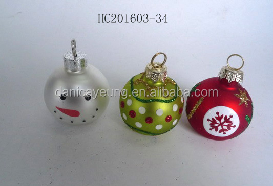 Hottest Glass produce popular design Hand painted print Christmas Ball